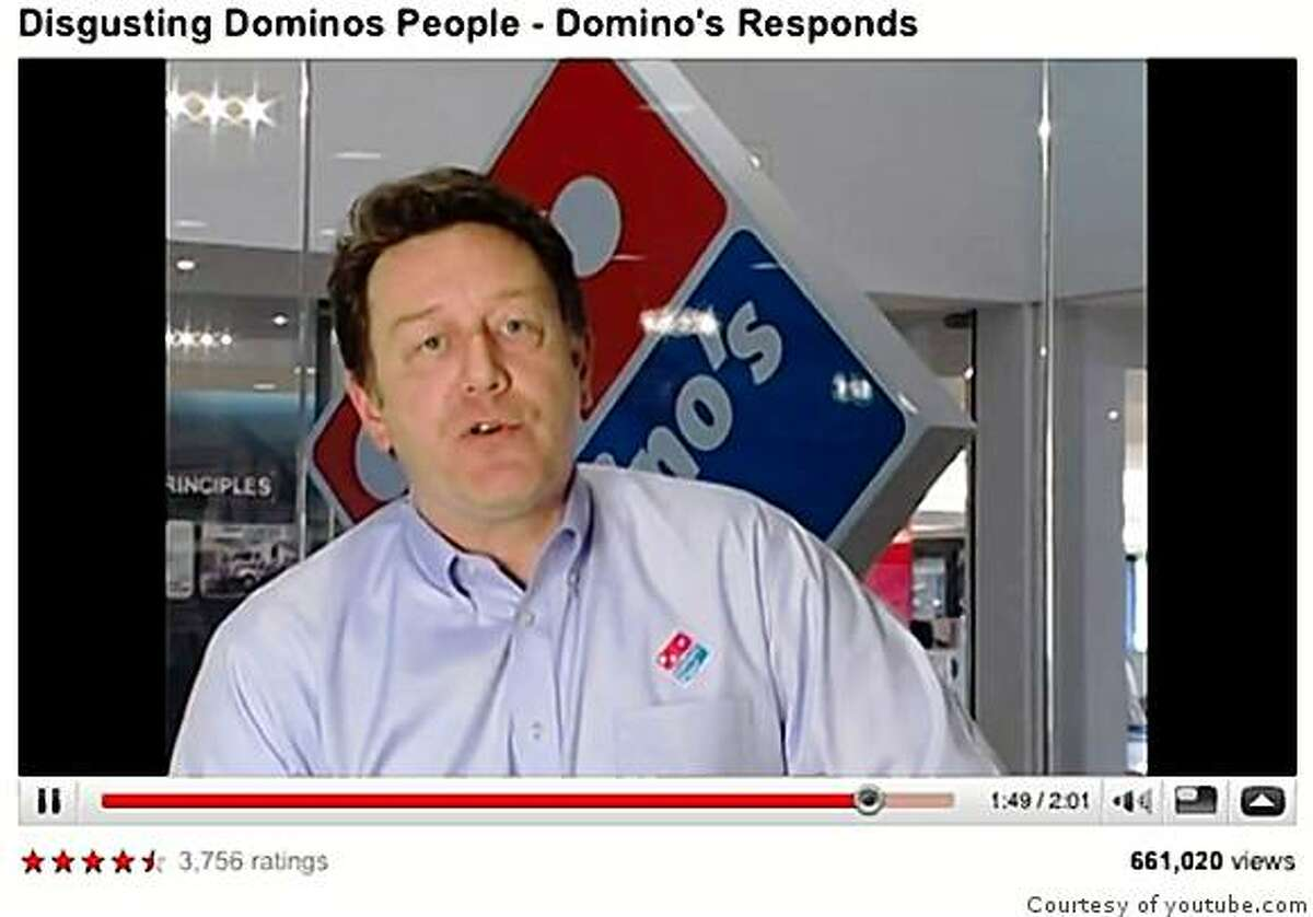 Screenshot of You Tube video of Domino's President Patrick Doyle responding to a You Tube prank where employees put Pizza ingredients up their noses and then sent the pizzas out to customers.