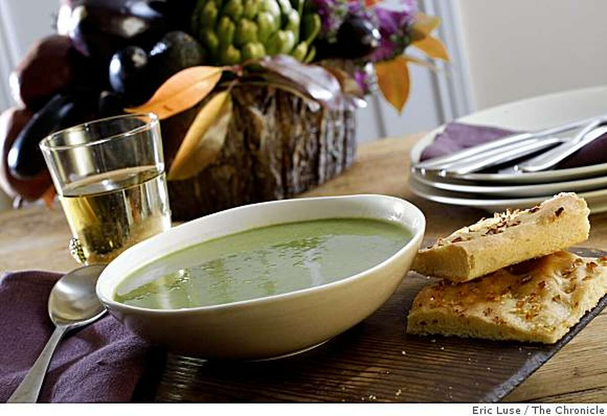 Pea and lettuce soup for Spring entertaining photographed in San Francisco on Friday, April 17, 2009.