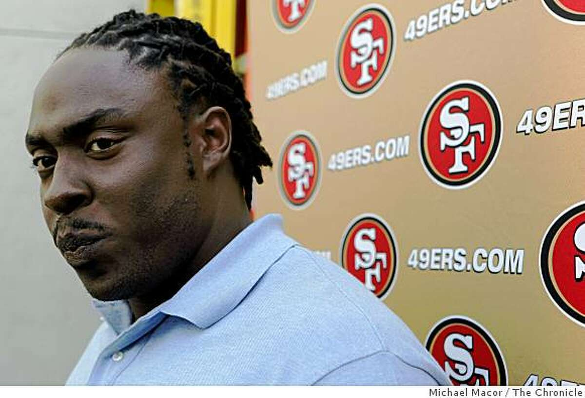 Ricky Jean-Francois meets with the media as the San Francisco 49ers introduce their rookies for the 2009 season at the 49ers headquarters in Santa Clara, Calif. on Thursday April 30, 2009.