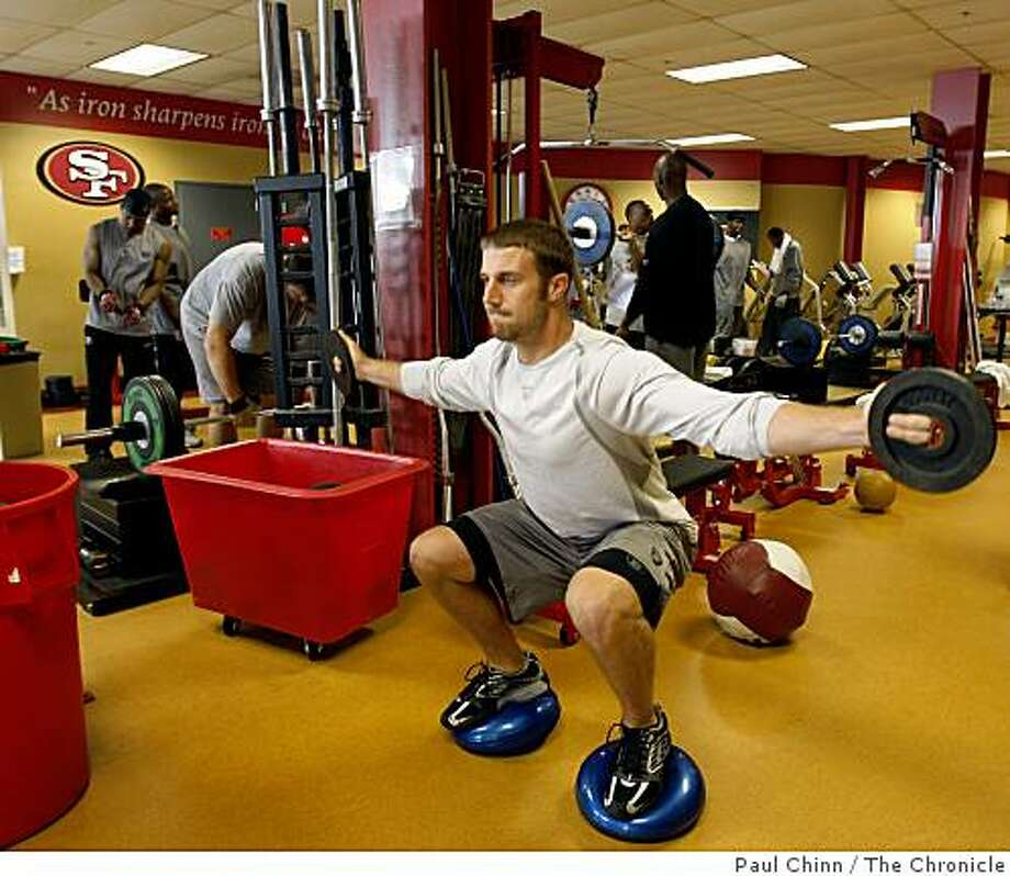 Quarterback Alex Smith works out in the expanded weight room at the 49ers training facility in Santa Clara, Calif., on Tuesday, April 14, 2009. Photo: Paul Chinn, The Chronicle