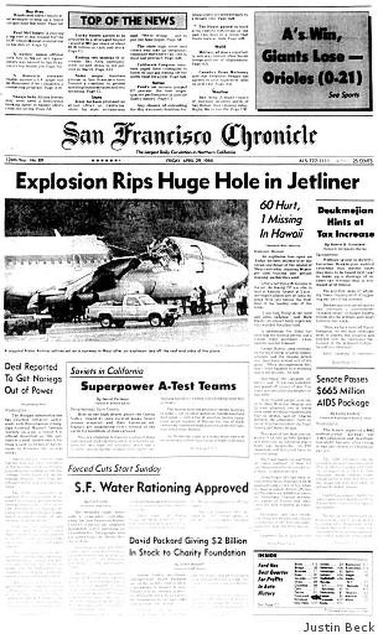 April 29, 1988 ? One flight attendant is missing and 60 passengers are injured after the roof rips off a jetliner flying over the Pacific Ocean the day before. Aloha Airlines Flight 243 had been en route from Hilo, Hawaii to Honolulu at 24,000 feet when the accident happened, and made an emergency landing at Kahului Airport on Maui. The missing flight attendant, identified as Clarabelle Lansing, is later declared dead. Photo: Justin Beck