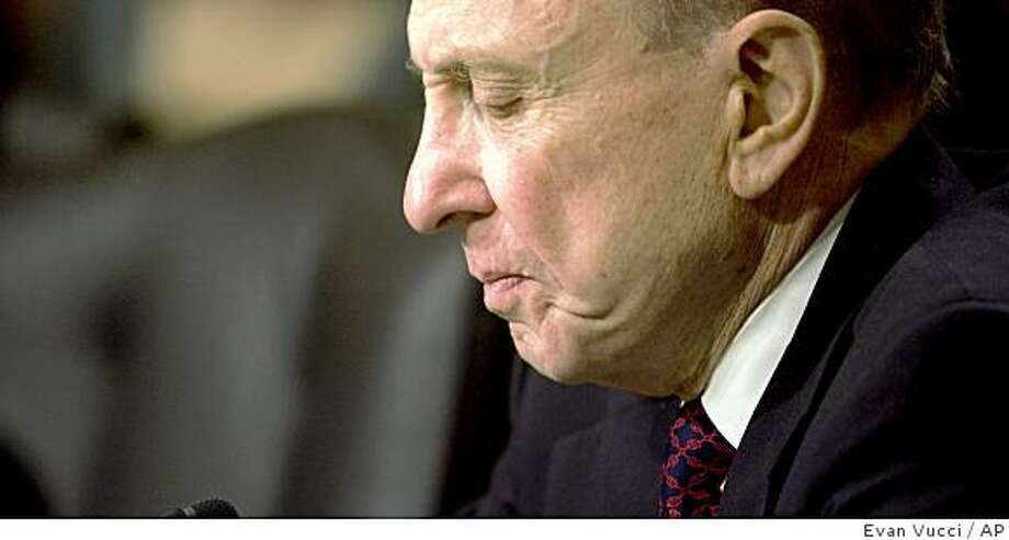 Sen. Arlen Specter, D-Penn., sits on the Democratic side of the aisle during an emergency hearing on swine flu by a subcommittee of the Agriculture, Nutrition and Forestry committee on Tuesday, April 28, 2009 in Washington.  Specter announced he is switching political parties and will be become a Democrat. (AP Photo/Evan Vucci) Photo: Evan Vucci, AP