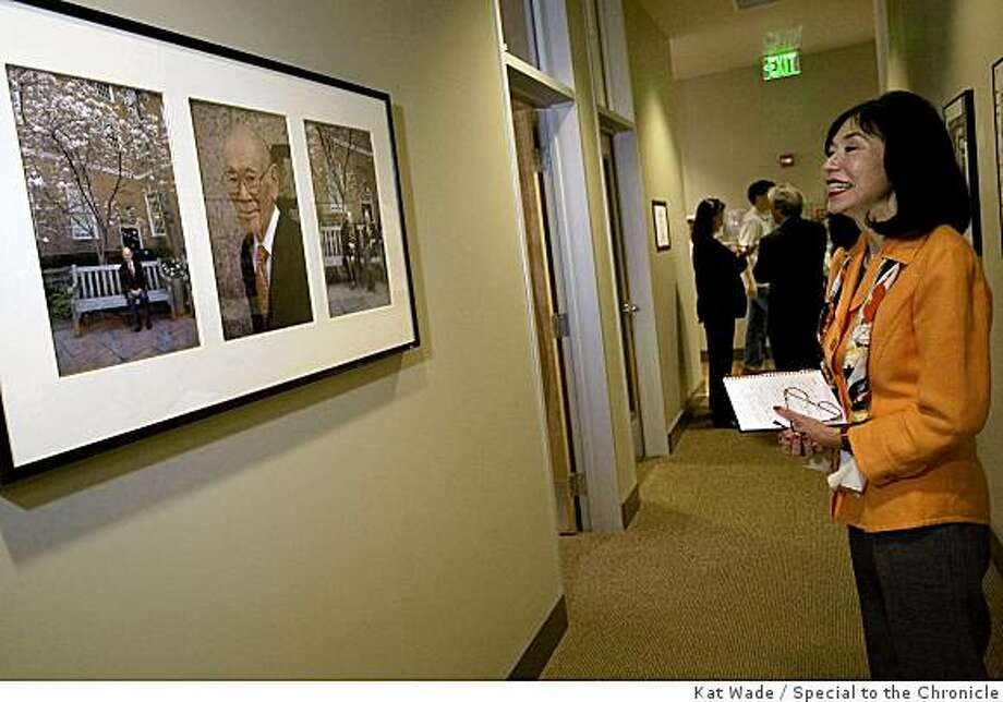 Karen Korematsu, the daughter of civil rights icon Fred T. Korematsu  looks at the portraits of her father and mother hung outside the Fred T. Korematsu Civil Rights and Eduction Institute at the Asian Law Caucus n after a media preview of the Institute at the Asian Law Caucus in San Francisco, Calif. on Monday, April 27, 2009.Photo by Kat Wade / Special to the Chronicle Photo: Kat Wade, Special To The Chronicle