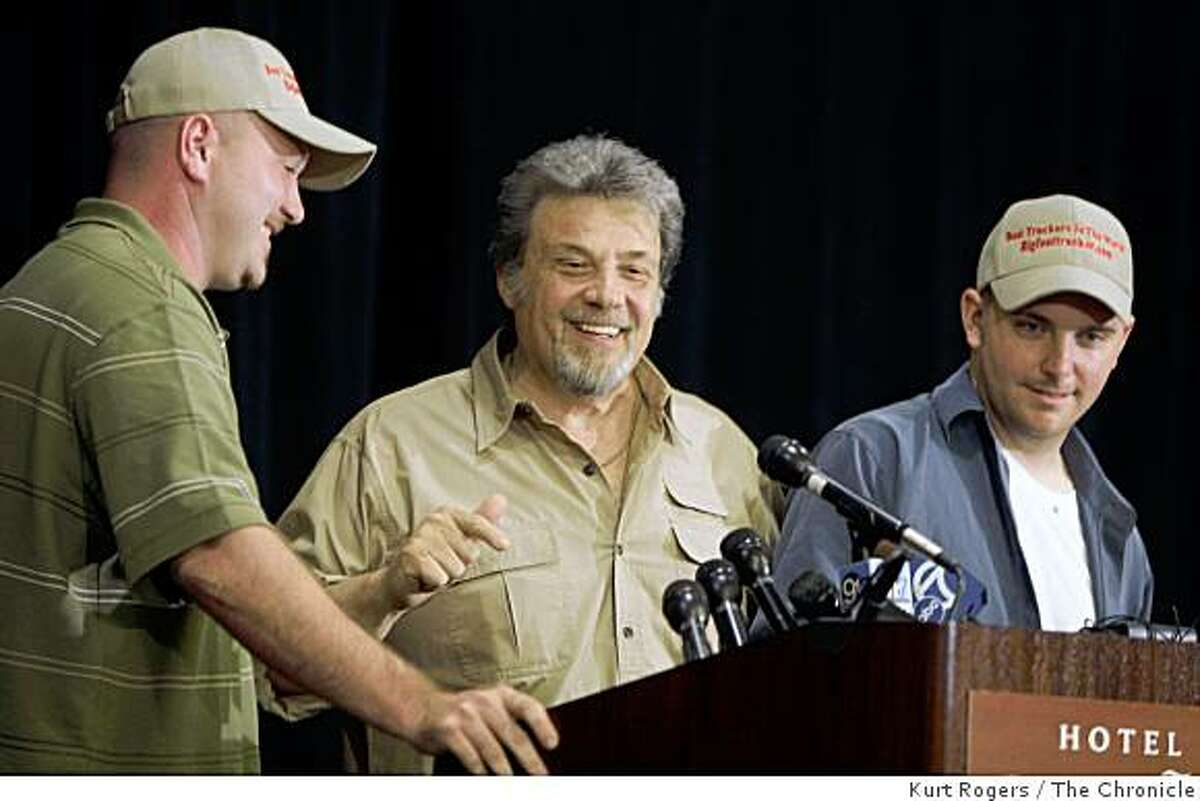 Ric Dyer Robert Barrows and Matt Whitting laugh at questions that were asked of them about Bigfoot that they clam to have on ice. Ata press conference at the Crown Plaza Cabana Hotel on Friday , Aug 15 2008 in Palo Alto , Calif