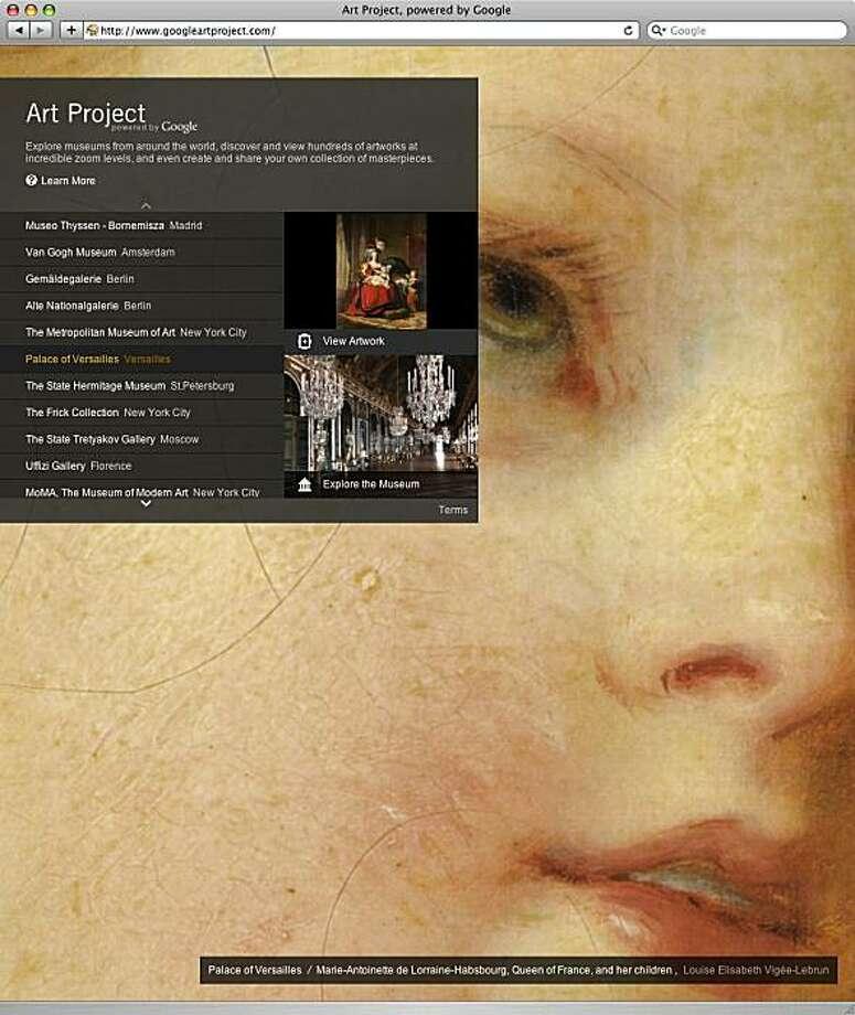 A screenshot of http://www.googleartproject.com/ for wow07 Photo: GoogleArtProject.com