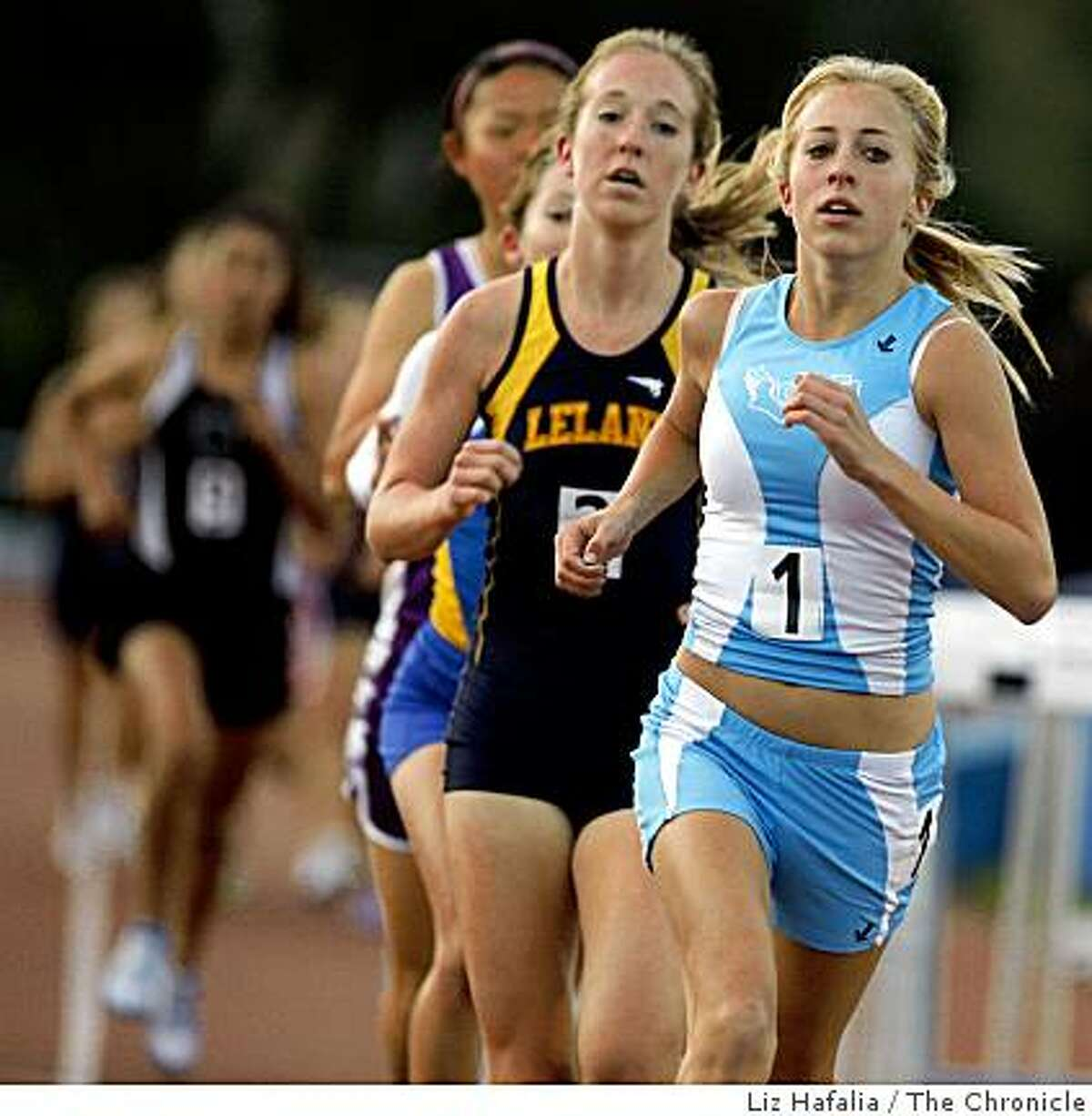 Jennifer Bergman from Valley Christian came in second during the 3200 meter run varsity in the Central Coast Section track meet at Los Gatos High School in Los Gatos, Calif., on Friday, April 24, 2009.