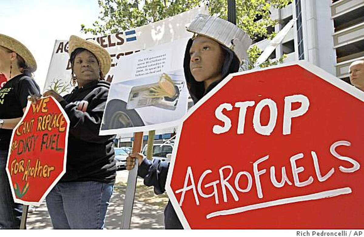 Joshua Berry, 10, of Oakland, right, joined his mother, Ladasha Berry, left, and more than a dozen others in protesting the use of biofuels during a demonstration as state air regulators considered new low-carbon fuel rules in Sacramento, Calif., Thursday April 23, 2009. The California Air Resources Board is expected to adopt, Thursday, new rules to reduce the carbon content of fuels sold in the sate by 10 percent by 2020.(AP Photo/Rich Pedroncelli)