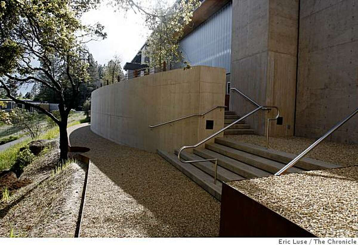 Walkway that leads to the entrance to Cade WInery which is up against a hillside photographed in Napa on Tuesday, April 14, 2009.