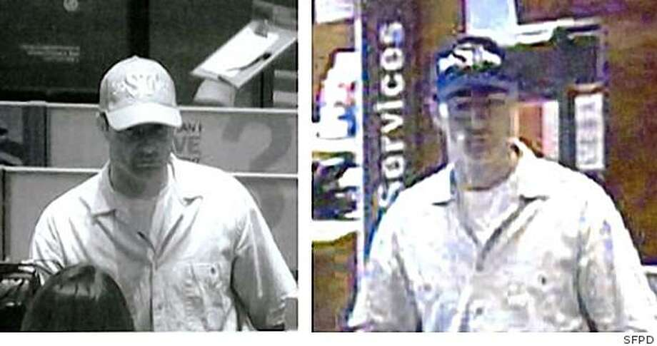 San Francisco police are seeking the public's help in locating this suspect, described as a white male, 6'1, 190 lbs., last seen wearing a baseball cap with SF on it, a khaki buttoned shirt, and blue jeans. He is a bank robbery suspect who threatened to blow up a Bank of America located at 50 California Street, at approximately 12:50 P.M on April 15, 2009. Photo: SFPD