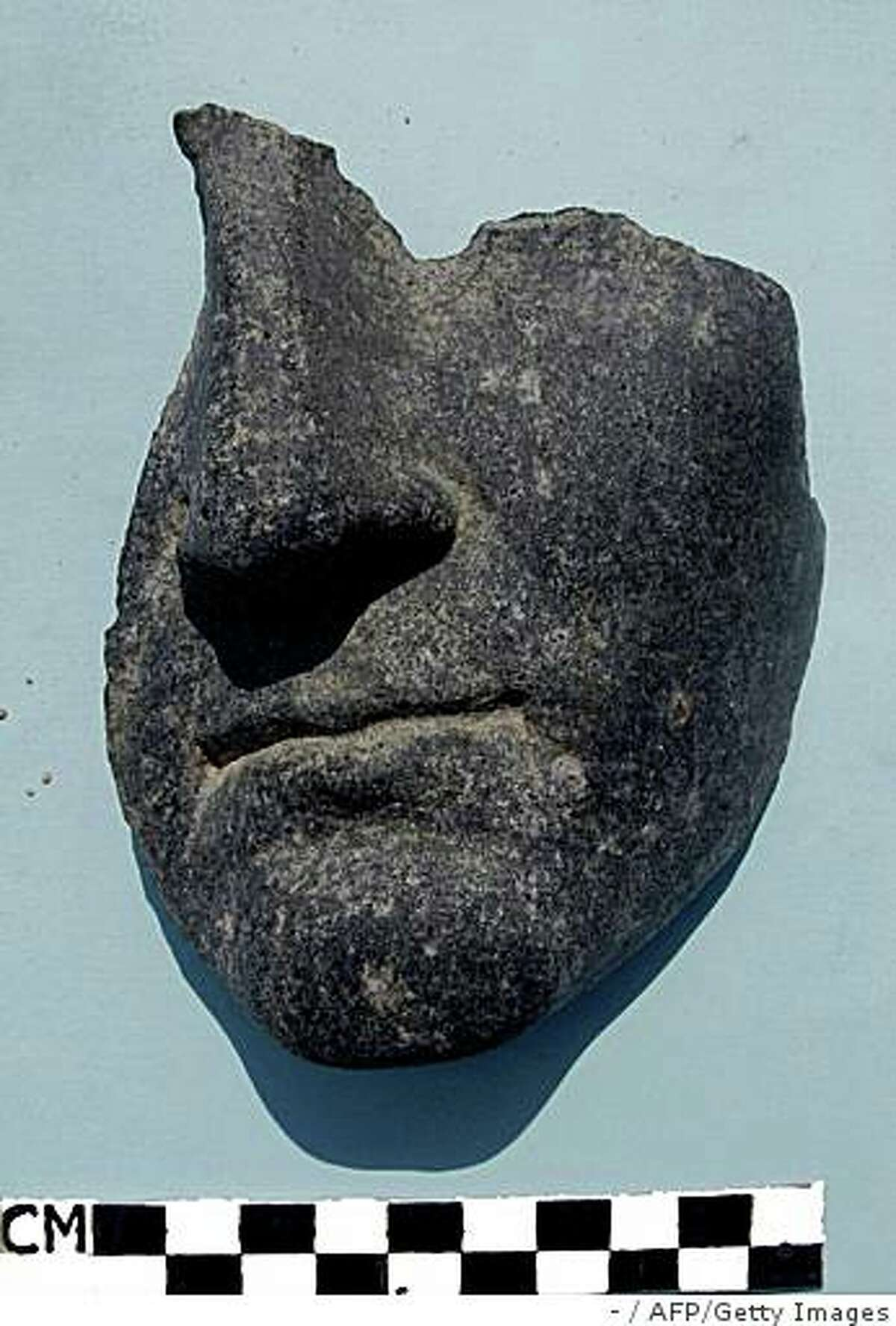 A recent undated handout picture from the Egyptian Supreme Council of Antiquities shows a recently discovered funerary mask depicting a man with a left chin at the Taposiris Magna temple, West of Alexandria. An archaeological team from Egypt and the Dominican Republic completed a three-year radar survey of Taposiris Magna as part of the search for the tomb of Cleopatra and Mark Antony, according to the SCA in a press statement released on April 15, 2009. AFP PHOTO/HO/EGYPTIAN SUPREME COUNCIL OF ANTIQUITIES == RESTRICTED TO EDITORIAL USE == (Photo credit should read -/AFP/Getty Images)