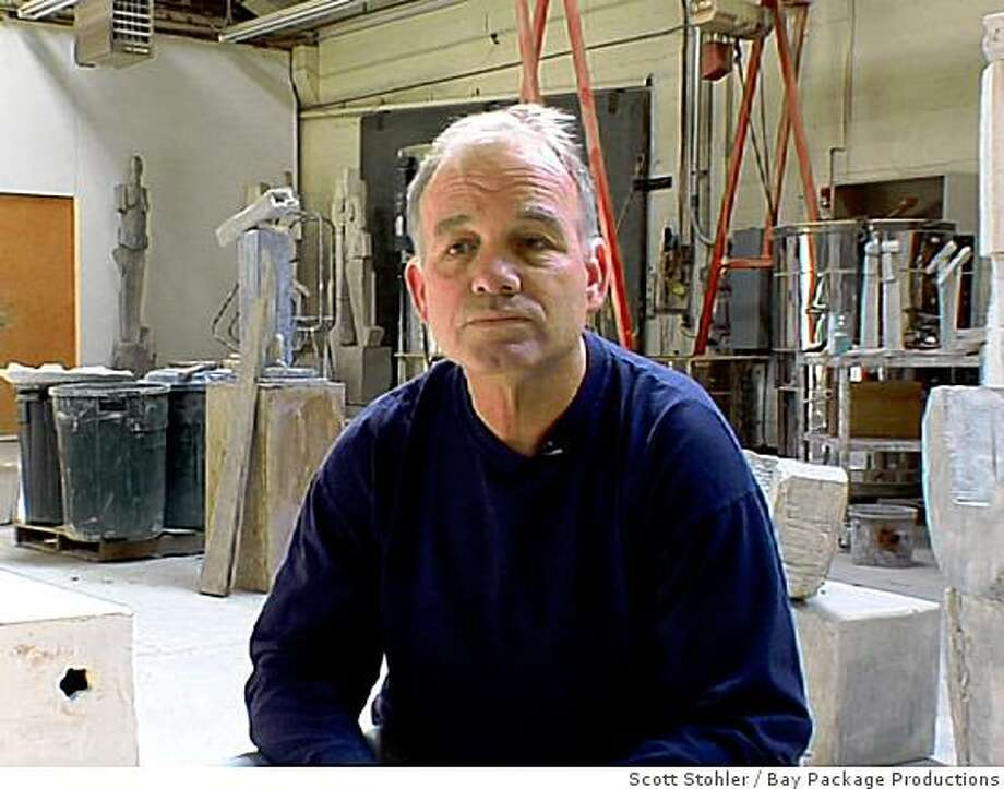 Sculptor Dennis Gallagher (1952-2009 in his studio Photo: Scott Stohler, Bay Package Productions