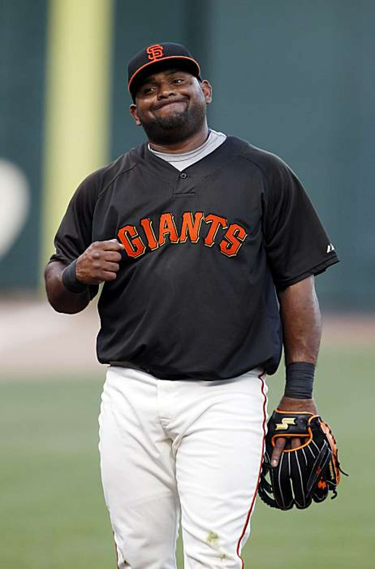 Pablo Sandoval makes a face after missing an infield hit during batting practice. The San Francisco Giants practiced AT&T Park in San Francisco, Calif., on Tuesday, October 5, 2010, in preparation for their National League Division Series against the Atlanta Braves.