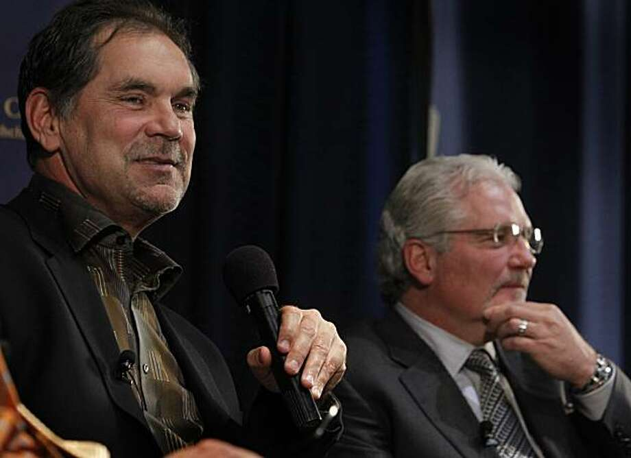 San Francisco Giants Manager Bruce Bochy (left) and General Manager Brain Sabean speak to members of the Commonwealth Club in San Francisco, Calif., on Thursday, Feb. 3, 2011. Photo: Paul Chinn, The Chronicle