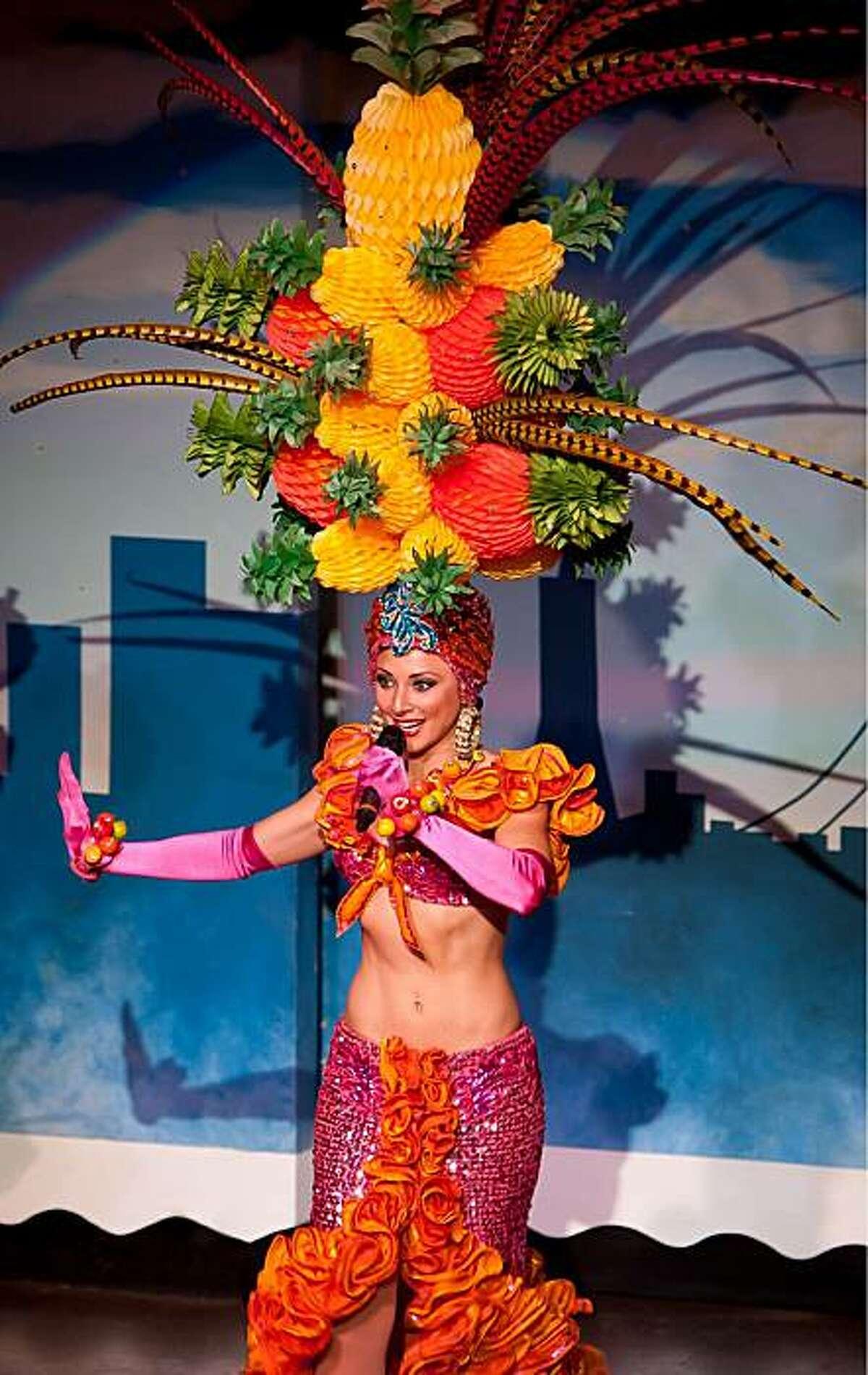 Jacqui Heck as the Pineapple Princess in Beach Blanket Babylon.