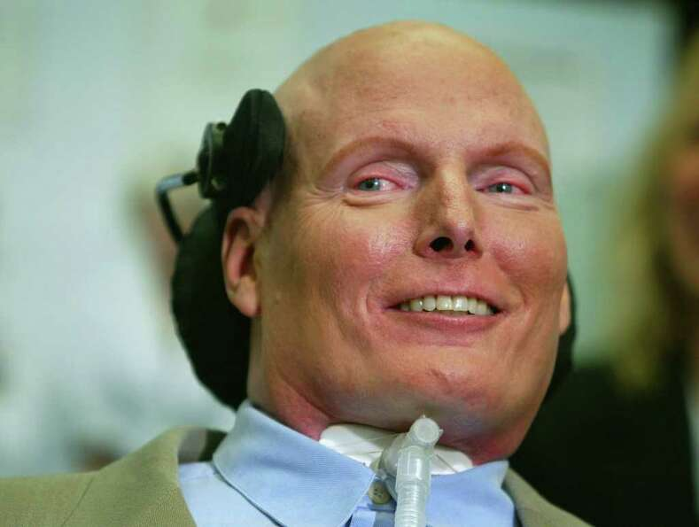 In this Wednesday, May 7, 2003 file photograph, actor Christopher Reeve smiles during a press confer