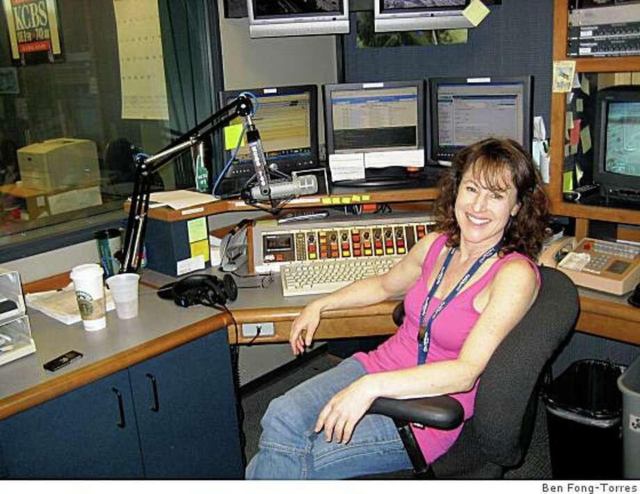 Liz Saint John at KCBS' traffic studio. Photo: Ben Fong-Torres