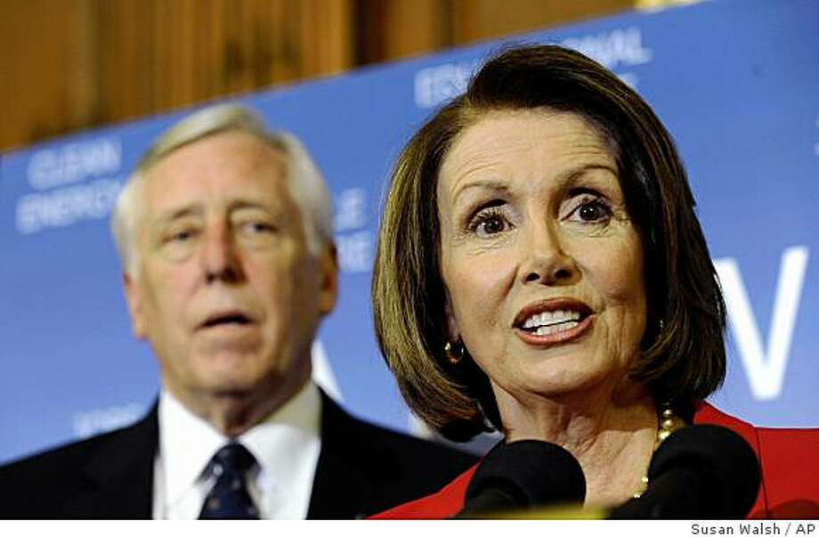 FILE - In this April 2, 2009 file photo, House Speaker Nancy Pelosi of Calif., accompanied by House Majority Leader Steny Hoyer of Md., speaks during a news conference on Capitol Hill in Washington. So far this year, Congress has done what it does best _ spend a lot of money and make a lot of promises. Now, as lawmakers return from a two-week spring break, comes the hard part, the actual crafting of legislation that will change how banks are regulated, health care is delivered and the nation consumes energy.  (AP Photo/Susan Walsh, FILE) Photo: Susan Walsh, AP