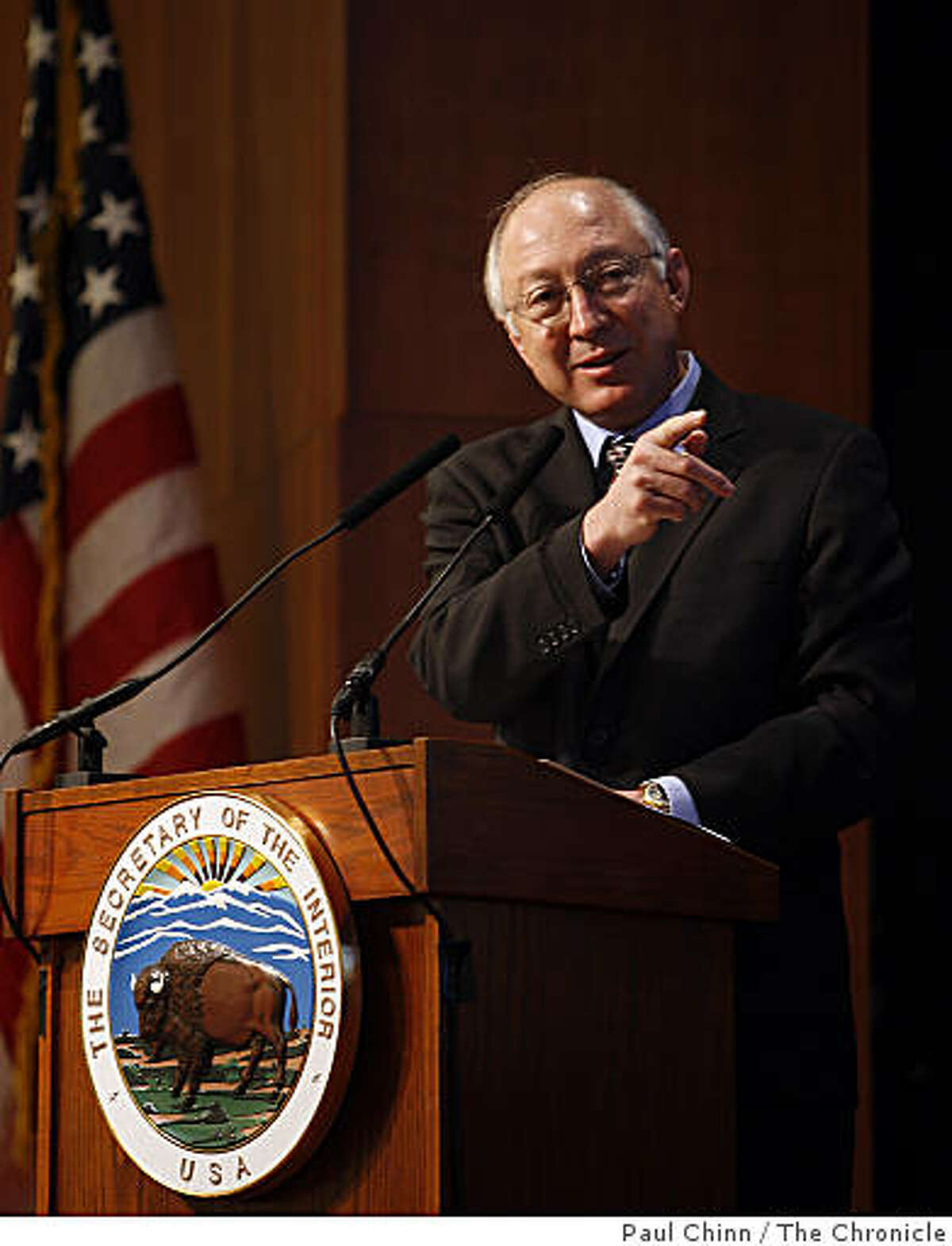 Secretary of the Interior Ken Salazar makes opening comments at a public hearing convened by the Department of the Interior to address offshore oil drilling in San Francisco, Calif., on Thursday, April 16, 2009.
