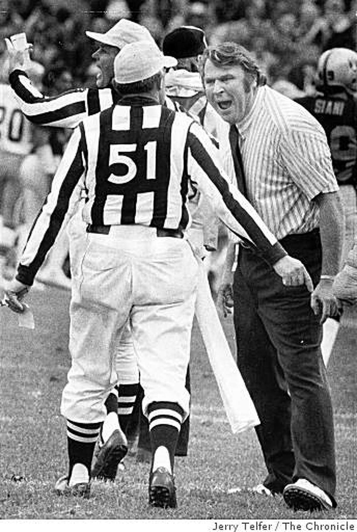 John Madden yells at an official during a Oakland Raiders game in 1975,