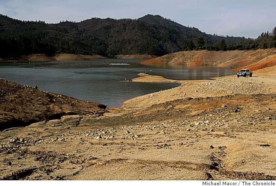 Shasta Lake on, Thursday Mar. 19, 2009., in Northern California is currently at 71 feet below normal lake levels. February 1st, 2009 the lake was at 147 feet below normal.  Shasta Lake, on Thursday Mar. 19, 2009., is the largest reservoir in the state, capable of holding more than 4 million acre-feet of water. This spring, however, after three dry winters, it stands at critically low levels., Calif. Photo: Michael Macor, The Chronicle