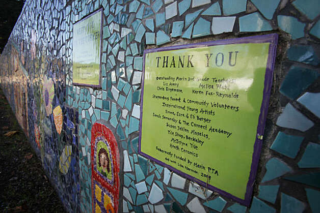 A plaque thanking donors for a mosaic wall is showcased outside Marin Elementary School on Wednesday, Nov. 24, 2010 in Albany, Calif. The wall is an art project funded in part by the school's PTA and parent donations. Photo: Mike Kepka, The Chronicle