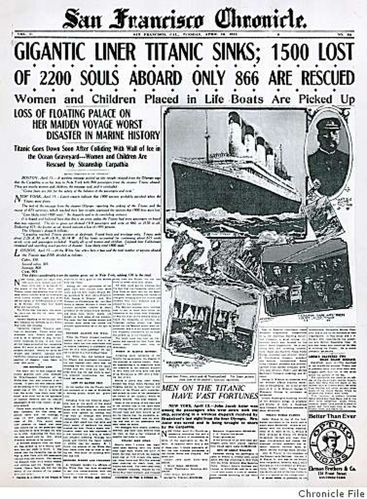 Dailyblast0416.jpg SF Chronicle cover from April 16, 1912. Chronicle File