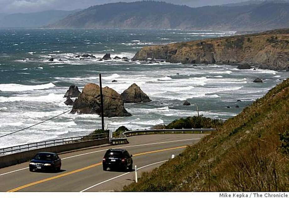 Rocks and sea collide on the Mendocino County Coastline north of Forth Bragg, Calif. on Tuesday April 14, 2009. The U.S. Department of Interior has proposed selling leases to drill for oil and gas off of the California coast in northern and southern regions of the state. Photo: Mike Kepka, The Chronicle