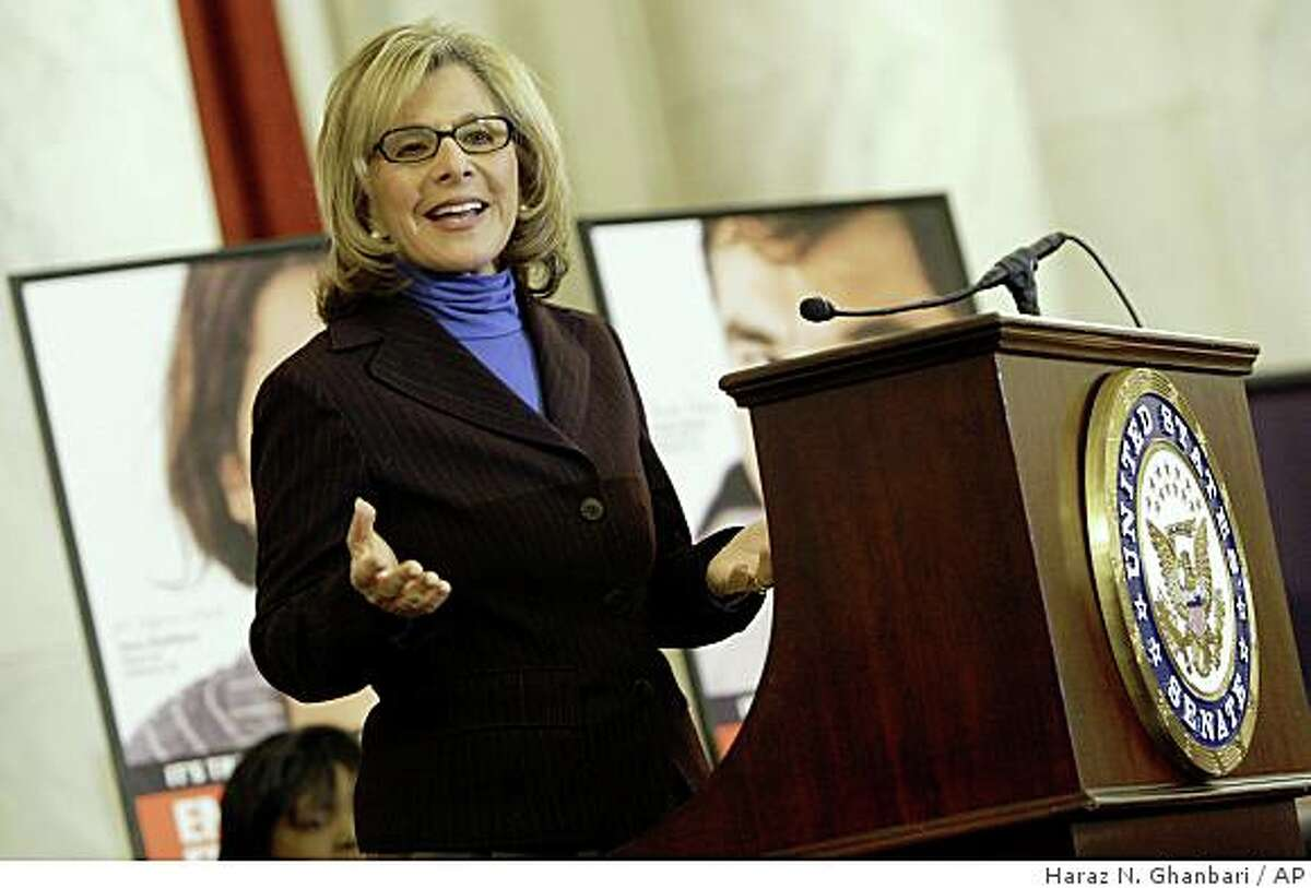"""Sen. Barbara Boxer, D-Calif. gestures as she speaks on Capitol Hill in Washington, Tuesday, March 31, 2009, during an event supporting the """"Faces of the Employee Free Choice Act,"""" campaign. (AP Photo/Haraz N. Ghanbari)"""