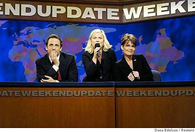 "Cast members Amy Poehler (C) and Seth Meyers (L) perform a skit with Republican vice-presidential nominee Alaska Governor Sarah Palin during an episode of ""Saturday Night Live"" in New York October 18, 2008.  REUTERS/Dana Edelson/Handout    (UNITED STATES).  NO SALES. NO ARCHIVES. FOR EDITORIAL USE ONLY. NOT FOR SALE FOR MARKETING OR ADVERTISING CAMPAIGNS. Photo: Dana Edelson, Reuters"