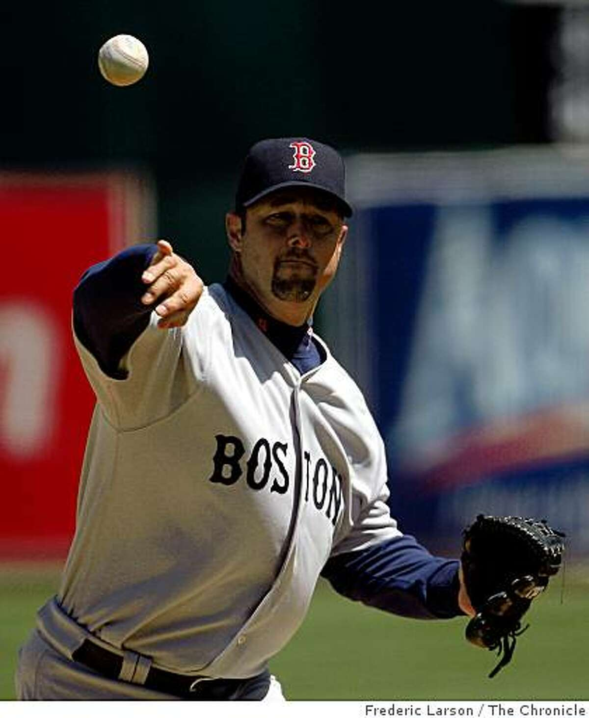 Boston Red Sox starting pitcher Tim Wakefield retires the sides against the Oakland A's at the Oakland Alameda County Coliseum on April 15, 2009.