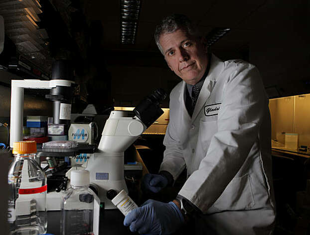 Dr. Robert Grant, lead investigator in a major HIV study, in the lab at the Gladstone Institute, Monday Nov. 22, 2010, in San Francisco, Calif. Dr. Grant and his team is have discovered that the drug Truvada is 100% effective against infection of HIV. Photo: Lacy Atkins, The Chronicle