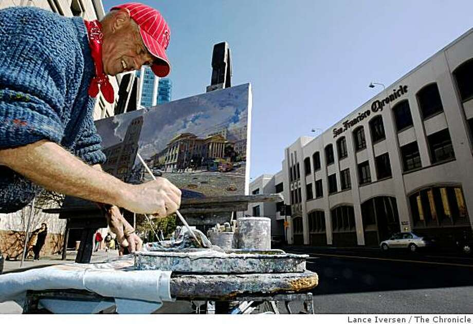 Anthony Holdsworth, a plein air painter, has spent weeks standing in front of The San Francisco Chronicle, capturing the building and the corner of Fifth and Mission in San Francisco on his canvas. Friday April 10, 2009 Photo: Lance Iversen, The Chronicle