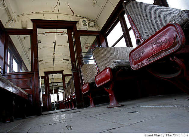 Interior of the old No. 1 streetcar, soon to be renovated. San Francisco's first publicly owned streetcar, which made its maiden run 97 years ago, will be restored at a cost of $1.8 million in time for MUNI's centennial celebration. Photo: Brant Ward, The Chronicle