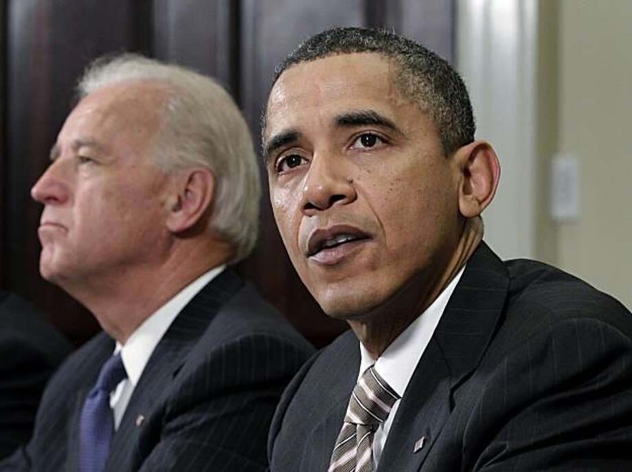 President Barack Obama speaks in the Roosevelt Room at the White House in Washington, Thursday, Nov. 18, 2010, where he dropped by a meeting on the the New START pact (Strategic Arms Reduction Treaty). Vice President Joe Biden is at left. Photo: J. Scott Applewhite, AP