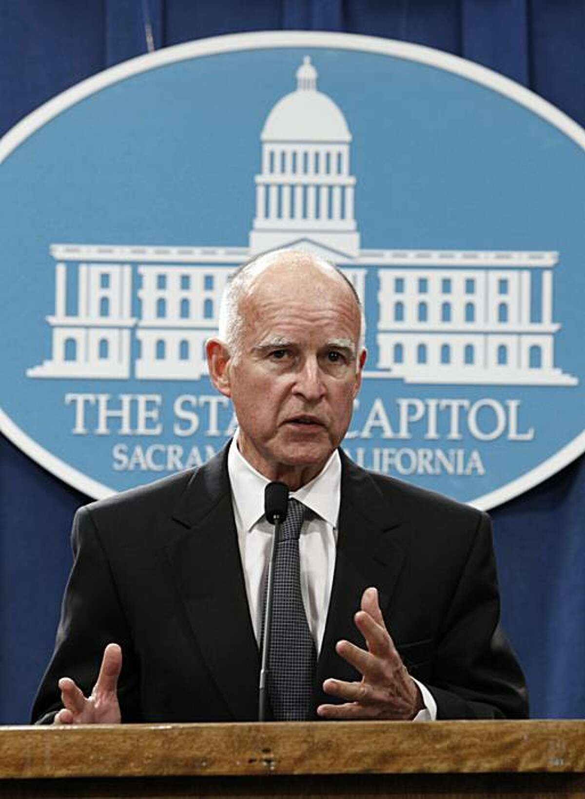 Gov.-elect Jerry Brown answers a question during a news conference held at the Capitol in Sacramento, Calif., Thursday, Nov. 4, 2010. Brown made his first visit to the Capitol after Tuesday's election after meeting with Gov. Arnold Schwarzenegger. He also met with other legislative leaders.