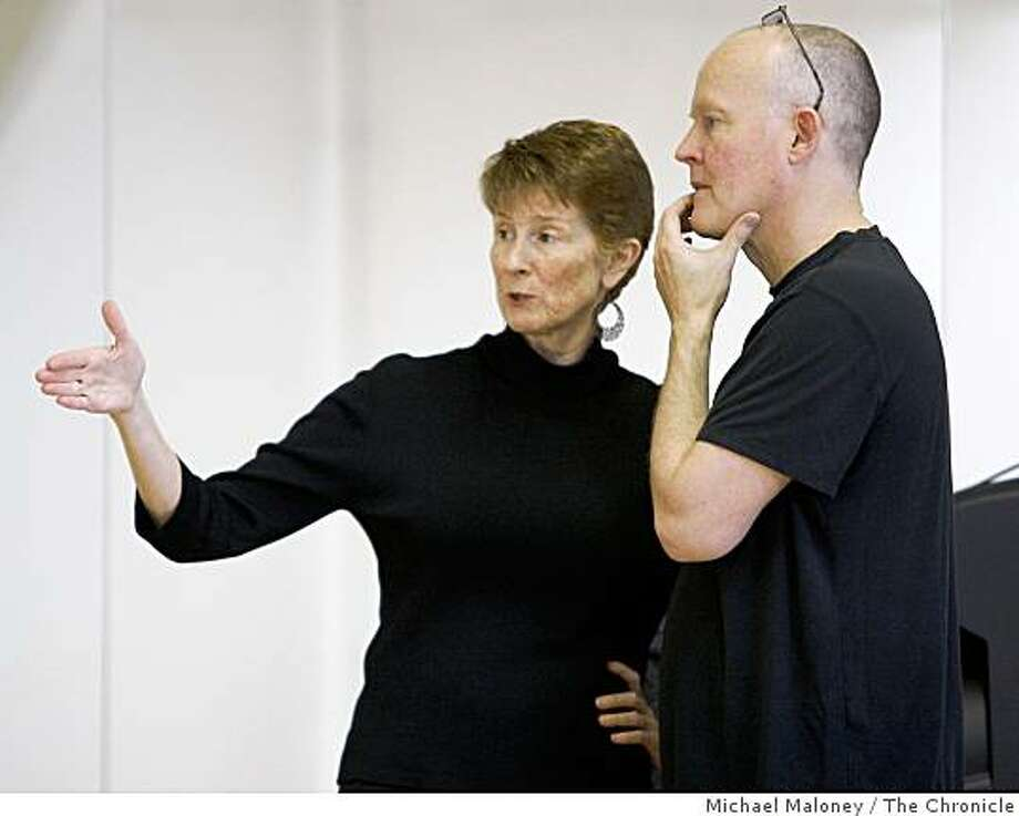 Choreographers Janice Garrett (left) and Charles Moulton collaborate in the creation of the world premiere of The Illustrated Book of Invisible Stories in rehearsals at the Margaret Jenkins Dance Lab in San Francisco, Calif., on March 26, 2009. Photo: Michael Maloney, The Chronicle