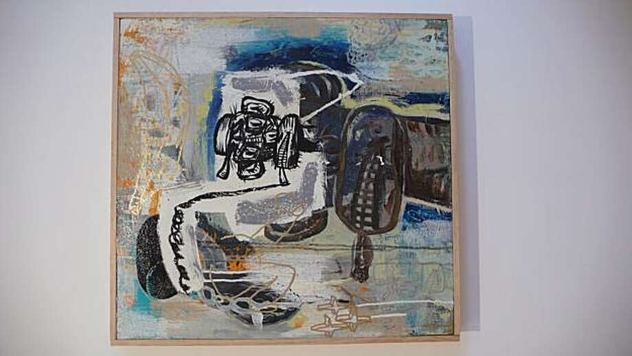 """""""Smoking Monkey"""" (2010) acrylic, enamel pen and collage on canvas Photo: Jack Fischer, Jack Fischer Gallery, S.f."""