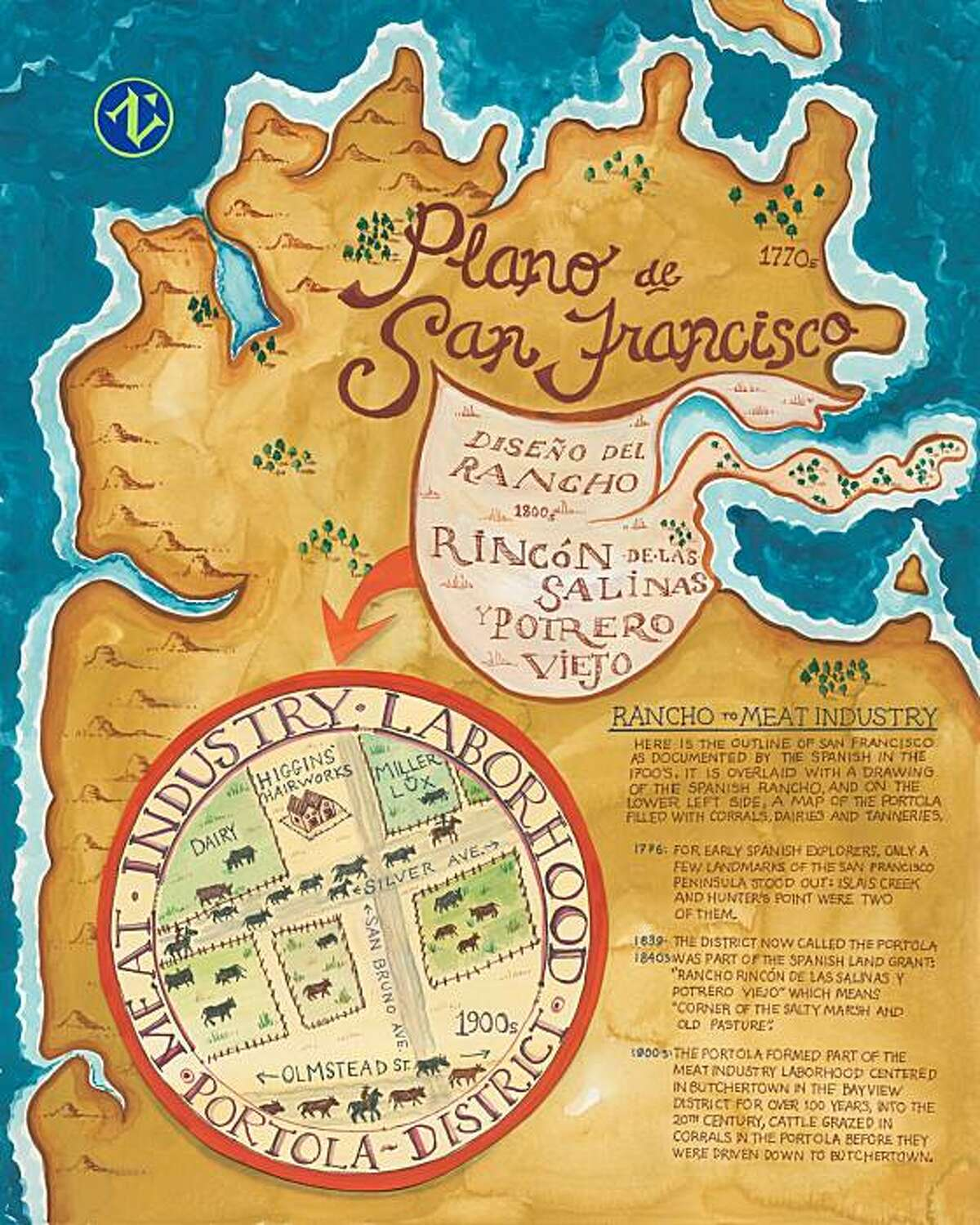"""Rancho to Meat Industry is one of the map posters offered at the Portola Branch Library as part of """"Crossing the Street."""""""