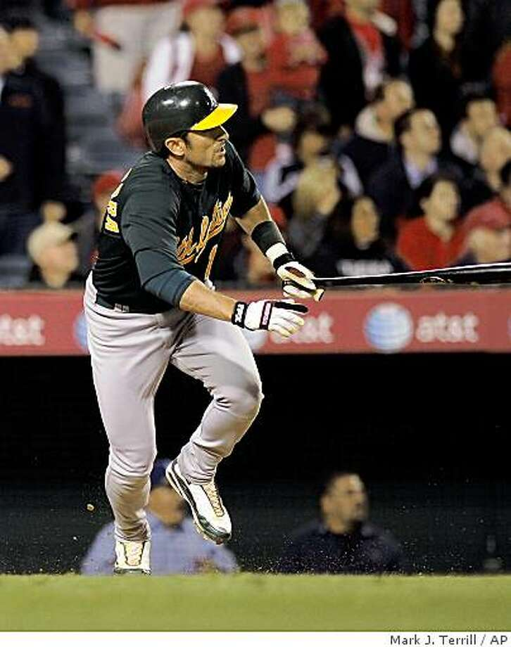 Oakland Athletics' Nomar Garciaparra runs toward first as he hits an RBI single during the ninth inning of their baseball game, Wednesday, April 8, 2009, in Anaheim, Calif. The Athletics won 6-4.  (AP Photo/Mark J. Terrill) Photo: Mark J. Terrill, AP