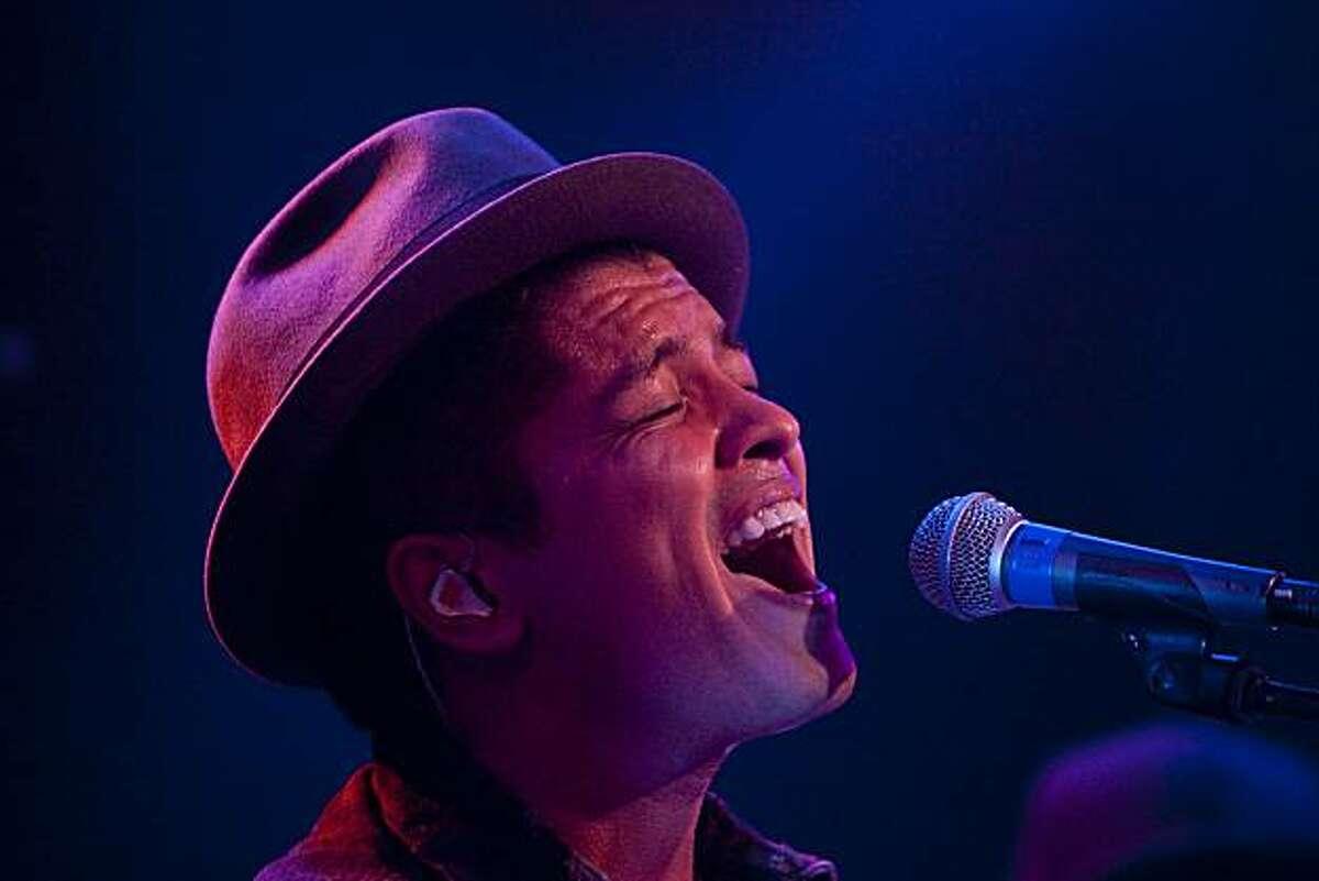 Bruno Mars performs at Slim's in San Francisco, Calif., on Tuesday, November 16, 2010.