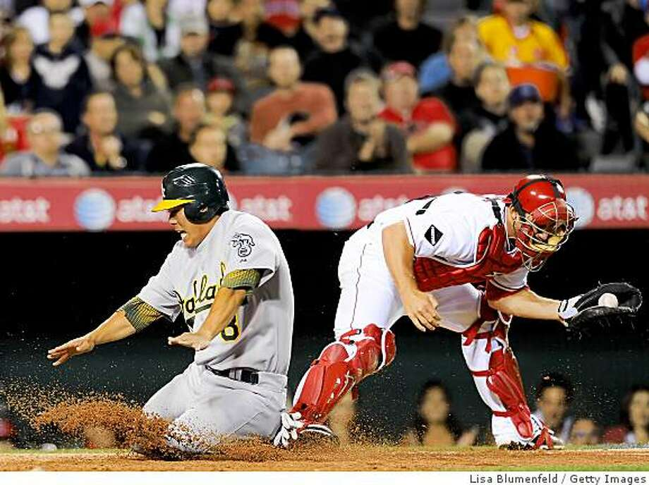 ANAHEIM, CA - APRIL 07:   Kurt Suzuki #8 of the Oakland Athletics is safe at homeplate in the fourth inning against Jeff Mathis #5 of the Los Angeles Angels of Anaheim on April 7, 2009 at Angel Stadium in Anaheim, California.  (Photo by Lisa Blumenfeld/Getty Images) Photo: Lisa Blumenfeld, Getty Images