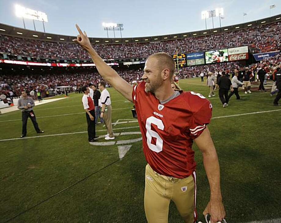 San Francisco 49ers place kicker Joe Nedney (6) celebrates after kicking the winning field goal against the St. Louis Rams in overtime in an NFL football game in San Francisco, Sunday, Nov. 14, 2010. The 49ers defeated the Rams 23-20 in overtime. Photo: Paul Sakuma, AP