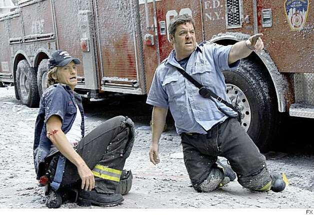 "RESCUE ME: (L-R) Denis Leary as Tommy Gavin. and John Scurti as Lt. Kenny ""Lou"" Shea. CR: FX Photo: FX"