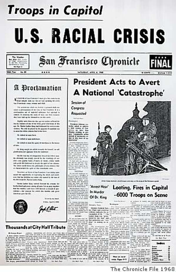 DAILYBLAST0406_ph.jpg San Francisco Chronicle cover from April 6, 1968.SF CHRONICLE/ San Francisco Chronicle File 1968 Photo: SF CHRONICLE, The Chronicle File 1968