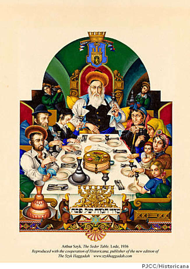 "Polish-Jewish illuminator Arthur Szyk's ""The Seder Table"" (1936) portrays a solemn celebration of Passover against the backdrop of Hitler's rise to power.credit: Peninsula Jewish Community Center, Reproduced with the cooperation of Historicana Photo: PJCC/Historicana"