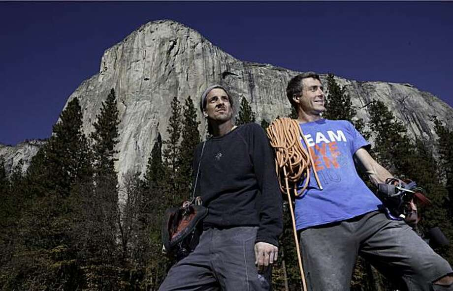 YOSEMITE, CA--- World renown climber Dean Potter and climbing partner Sean Leary are none worse for wear after climbing El Capitan on Mon., Nov. 15, 2010. Potter and Leary set the record for the fastest ascent of El Capitan at 2 hours, 36 minutes, and 45 seconds. Today's attempt fell short of the record by about 3 minutes with a time of 2:39:49. Potter and Leary said they were going to make more attempts at besting their record in the coming weeks. Photo: Tomas Ovalle, SFC