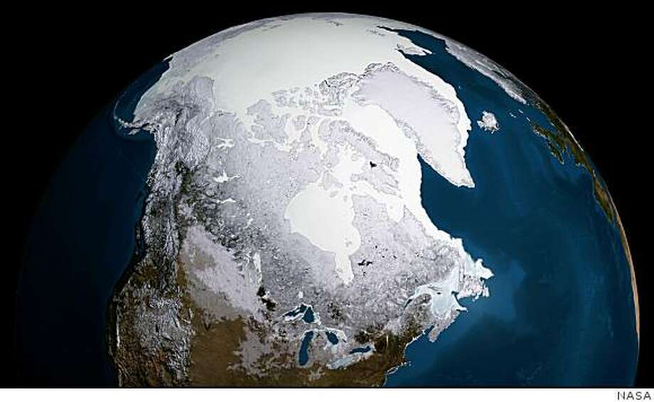 This data visualization from the AMSR-E instrument on the Aqua satellite show the maximum sea ice extent for 2008-09, which occurred on Feb. 28, 2009. Credit: NASA Goddard's Scientific Visualization Studio Photo: HO, NASA