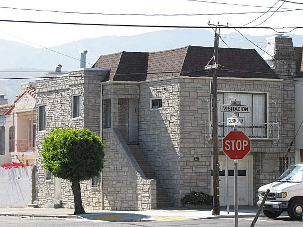 Perma-stone and its ilk -- artificial molded stone -- was a craze of the 1930s and '40s applied like vinyl siding to Bay Area homes. This is a kitschified rarity, a corner outpost in the Visitacion Valley neighborhood.