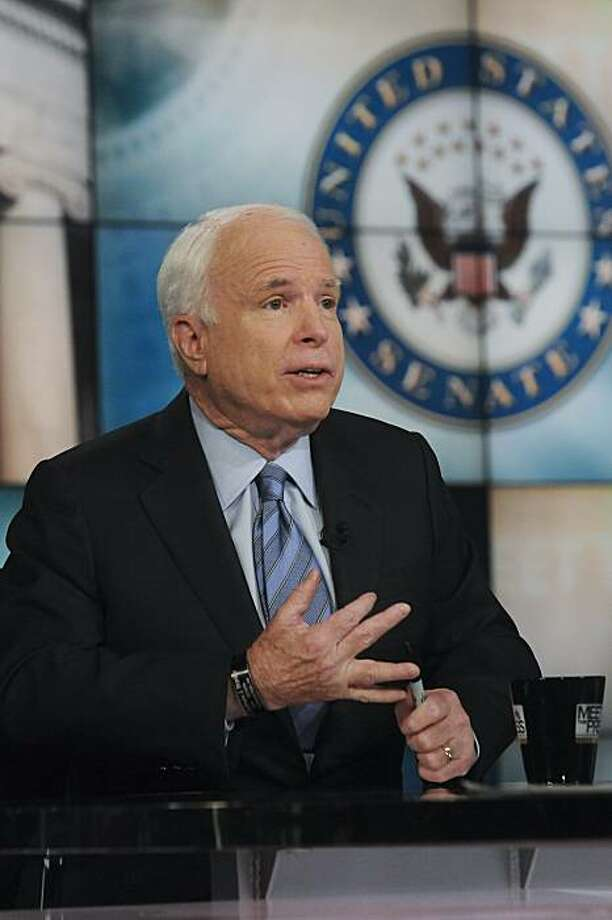 "In this photo released by NBC, Sen. John McCain, R-Ariz., responds to a question on NBC's ""Meet the Press""  in Washington Sunday, Nov. 14, 2010. (AP Photo/NBC, William B. Plowman) NO SALES Photo: William B. Plowman, AP"