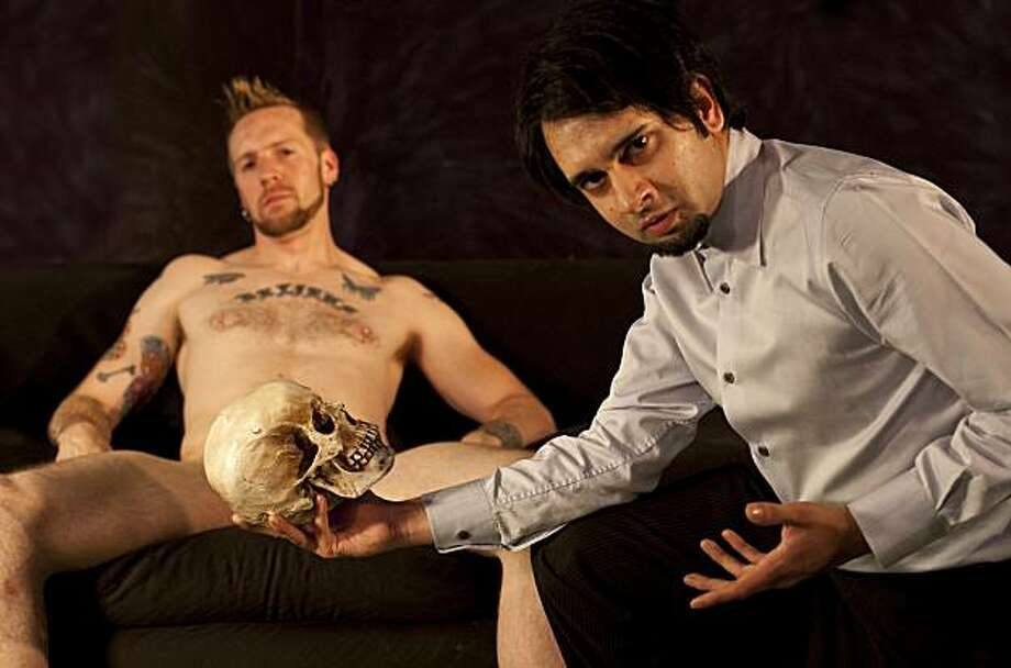 """Steven Satyricon (left) plays the title character, a gay porn star, and Jai Sahai plays a pretentious classical actor in """"The Play About the Naked Guy"""" at Impact Theatre Photo: Cheshire Isaacs"""
